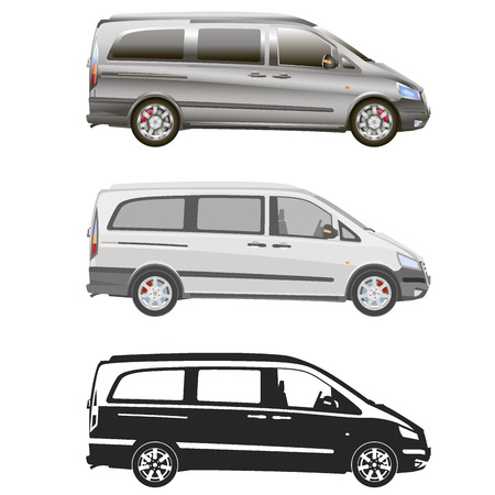 commercial vehicle: Vector service car template. White blank commercial vehicle - delivery van.