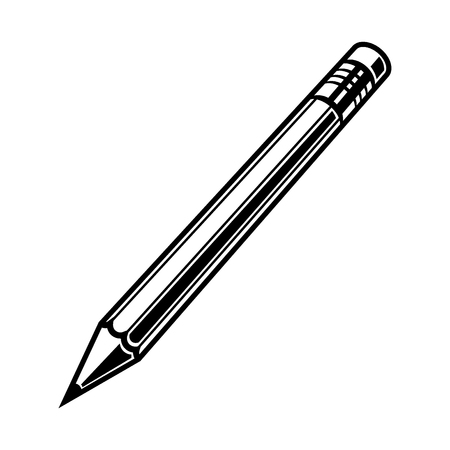 pensil: Pensil black on white background vector illustration