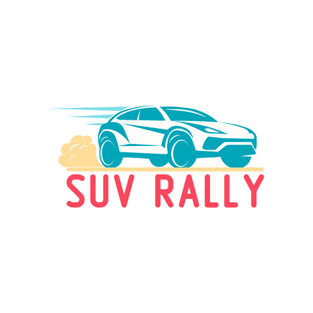 rally: Car rally emblem Template Design Vector illustration