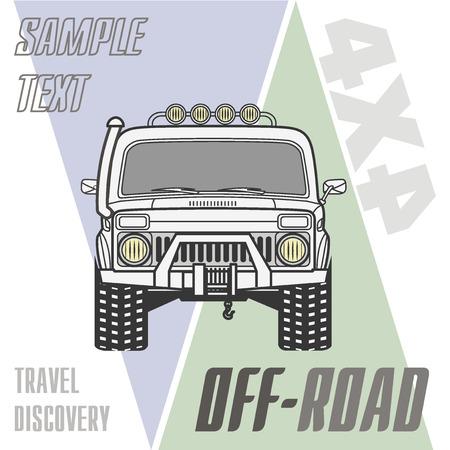 4x4: Off road 4x4 car truck banner vector illustration