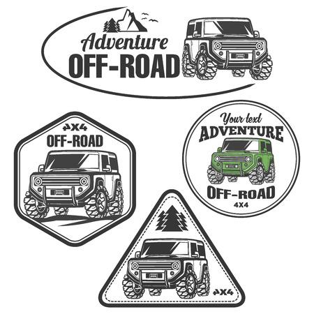 crawler: off-road suv car emblems, badges and icons. Rock crawler car Illustration