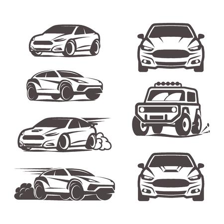 4x4: car icons set suv sedan 4x4 sport vector illustration