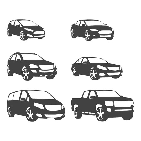 Sets of silhouette cars and on the road vehicle icon in isolated background