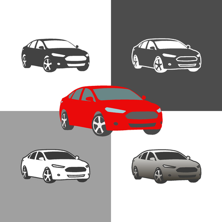 car auto vehicle icons silhouette set vector