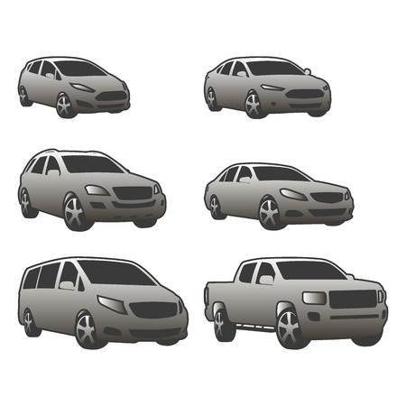 Vector set of various city urban traffic vehicles icons
