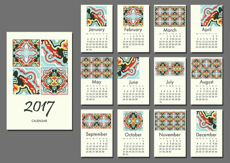 nineties: Simple abstract calendar template for 2017 vector Illustration