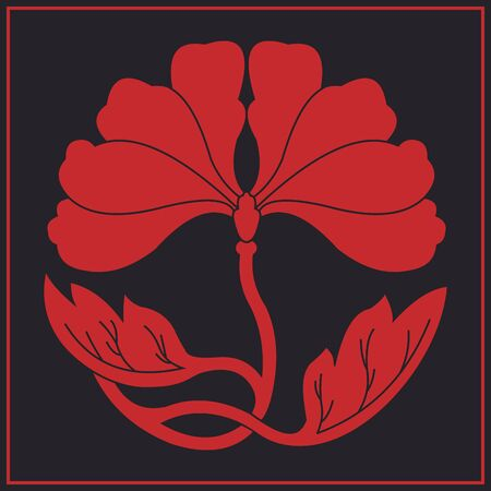 red flower on black flat simlpe vector illustraton Illustration