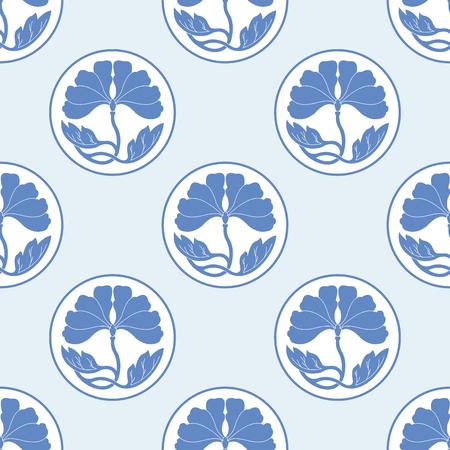 illustraton: oriental ornament flowers white flat simlpe vector illustraton