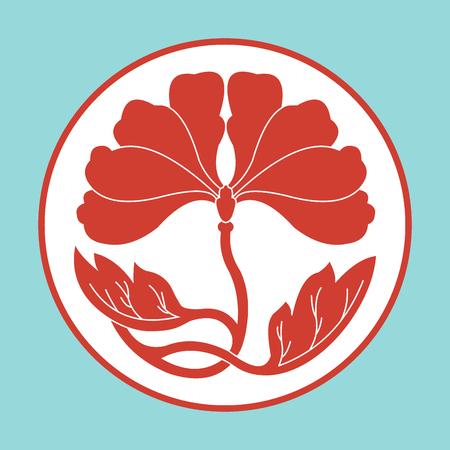 red flowers on blue background flat simlpe vector illustraton Illustration
