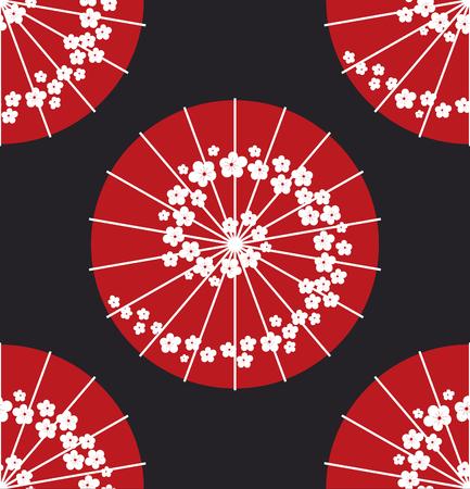 polkadot: Japanese umbrella polkadot style seamless pattern vector