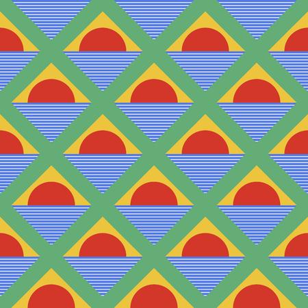visuddha: Abstract geometric background, half round patterns and triangles. seamless pattern Illustration
