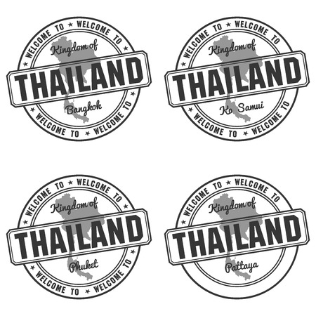 wat: passport stamp and made in Thailand map bangkok vector
