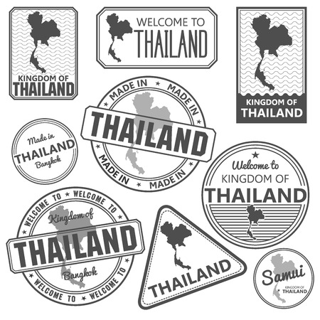 samui: passport stamp and made in Thailand map bangkok vector