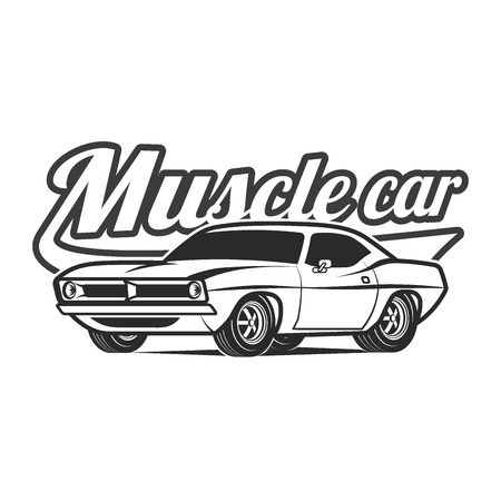 Muscle Car Vector Poster Illustration Royalty Free Cliparts Vectors