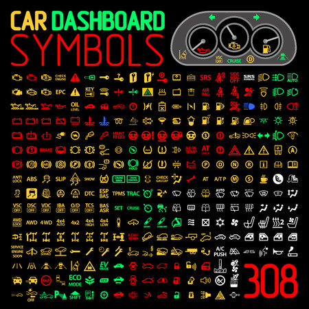 airbag: vector collection of car dashboard panel warning light indicators