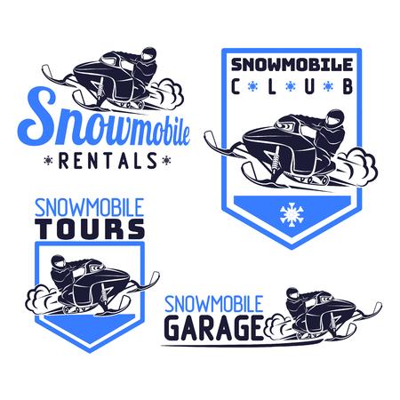 snowmobile logo snow mobile vector qality illustration set