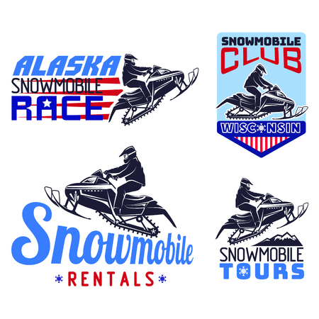 winter sport snowmobile logo emblems set vector Illustration