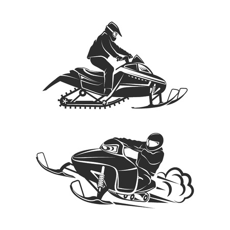 Snowmobiling Silhouette on white background vector set
