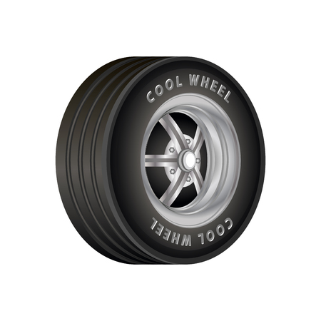 ring road: Car Wheel isolated on white vector illustration