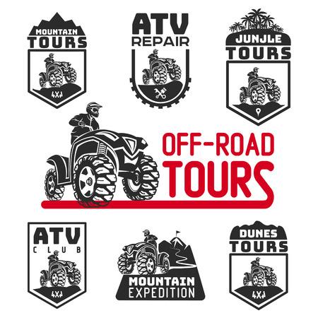 logotipo de vehículo ATV y emblemas. Todo terreno 4x4 quad ilustración.