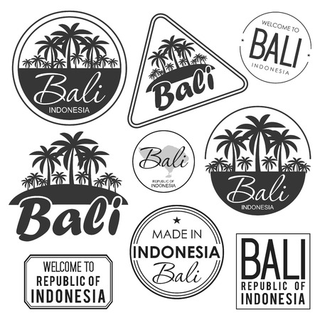 stamp with the name of Bali Island, vector illustration 일러스트
