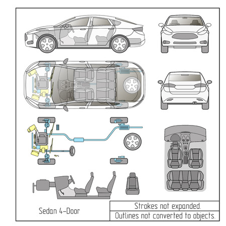car sedan parts seats drawing outline strokes not expanded