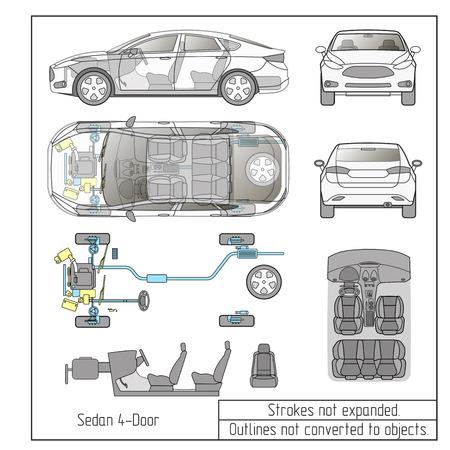 auto sedan onderdelen zetels tekening schets slagen niet uitgebreid