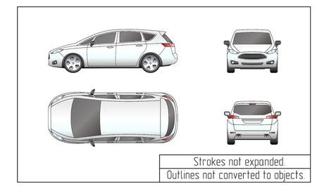 Auto van Zeichnung umreißt nicht auf Objekte umgewandelt