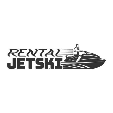 Jet Ski rental logo, badges and emblems isolated on white background. Watercraft transport .