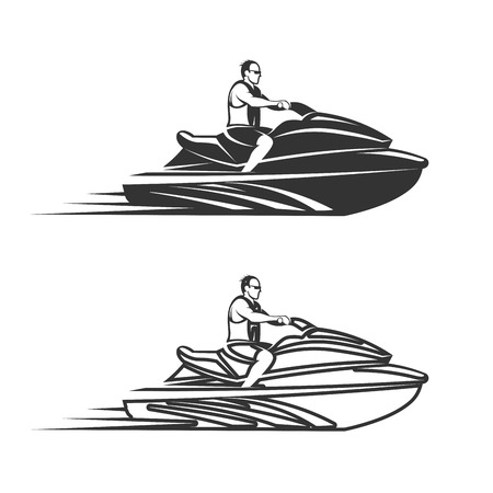 Conjunto de hombre en moto de agua aislado fondo blanco