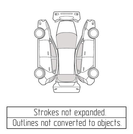 展開されていないアウトラインのストロークの描画車ハッチバック
