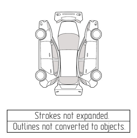 car hatchback drawing outline strokes not expanded Vettoriali