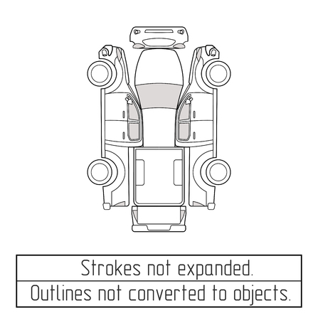 car pickup truck inspectio form drawing outline strokes not expanded