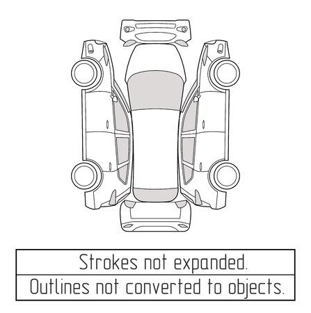 auto suv nspectoin contorno disegno forma i tratti non sono espanse Vettoriali