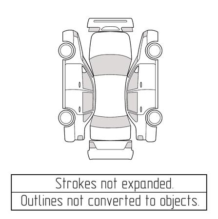 展開されていないアウトラインのストロークの描画車セダン検査フォーム  イラスト・ベクター素材