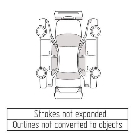 car sedan inspection form drawing outline strokes not expanded