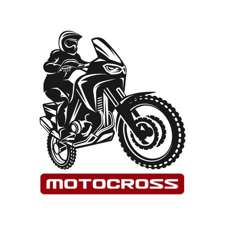 Motocross enduro race driver silhouette monochrome illustration