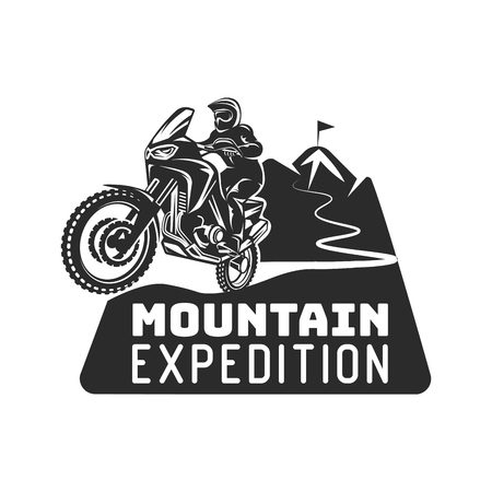 Motocross enduro race driver silhouette monochrome illustration
