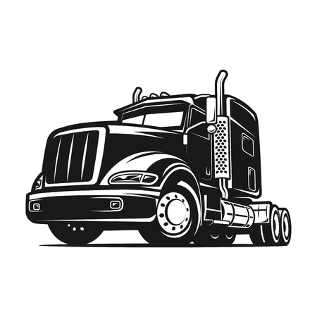 cool Truck cargo black and white illustration