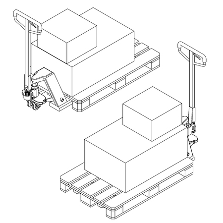 montacargas: Hand fork lift truck and pallet isometric outline drawing