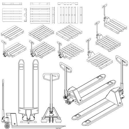 fork lift: hand fork lift truck and pallet isometric outline drawing