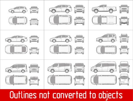 Car sedan and suv drawing outline strokes not expanded Vettoriali