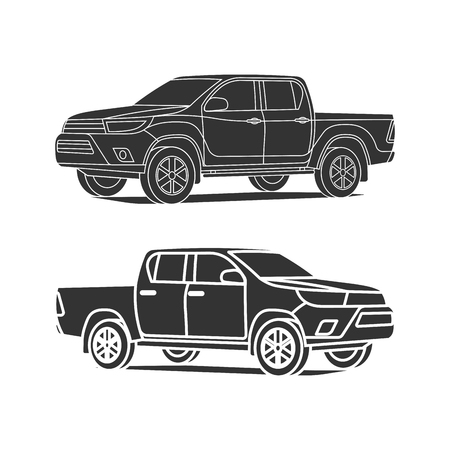 Pickup truck silhouette set outline and black icon vector.