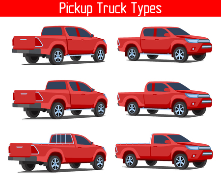car truck pickup TYPE drawing VECTOR SET