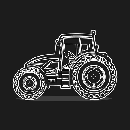 black tractor on white background Illustration