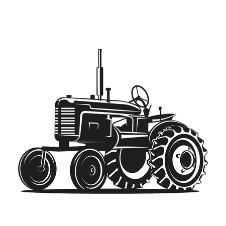 Silueta de tractor viejo negro sobre fondo blanco Foto de archivo - 81953334