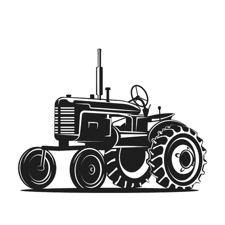 black old tractor silhouette on white background