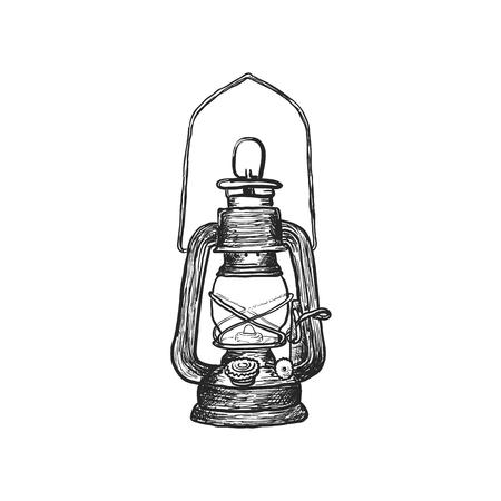 Antique oil lanterns. 矢量图像