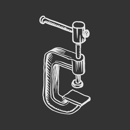 Hand drawn illustration of C-clamp.