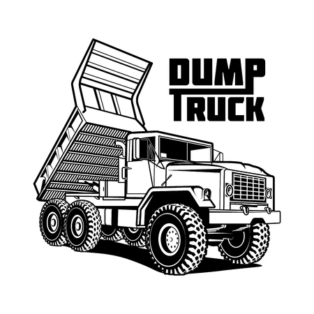 kipper dump truck illustratie op wit wordt geïsoleerd